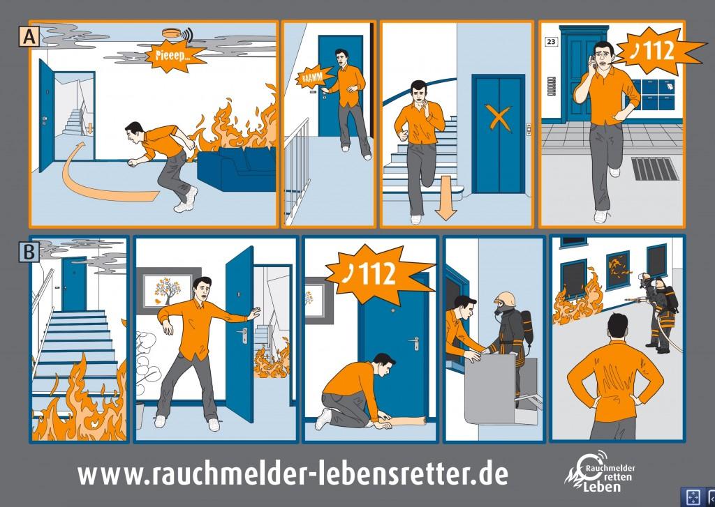 Rauchmelder Comic zum Verhalten im Brandfall